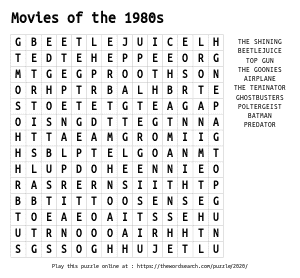 Word Search on Movies of the 1980s