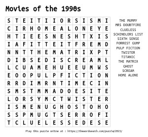 Word Search on Movies of the 1990s