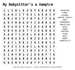 Word Search on My Babysitter's a Vampire