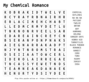 Word Search on My Chemical Romance