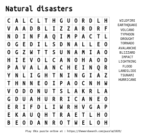 Word Search on Natural disasters