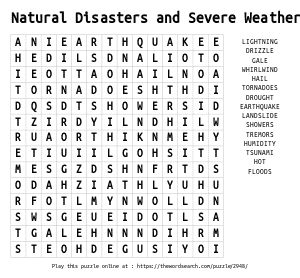 Word Search on Natural Disasters and Severe Weather