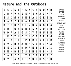 Word Search on Nature and the Outdoors