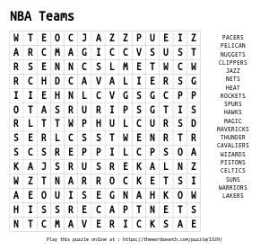 Word Search on NBA Teams