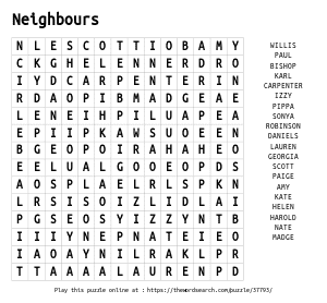 Word Search on Neighbours