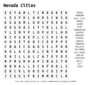 Word Search on Nevada Cities