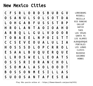 Word Search on New Mexico Cities