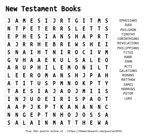 Word Search on New Testament Books