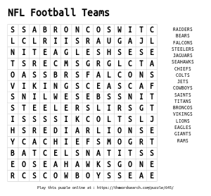 Word Search on NFL Football Teams