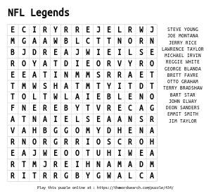 Word Search on NFL Legends