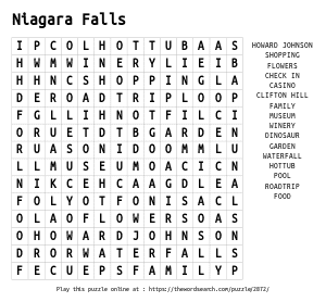 Word Search on Niagara Falls