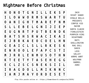 Word Search on Nightmare Before Christmas