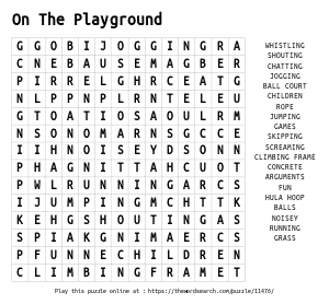 Word Search on On The Playground