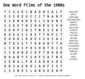 Word Search on One Word Films of the 1980s