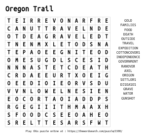 Word Search on Oregon Trail