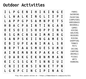 Word Search on Outdoor Activities