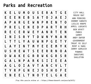 Word Search on Parks and Recreation