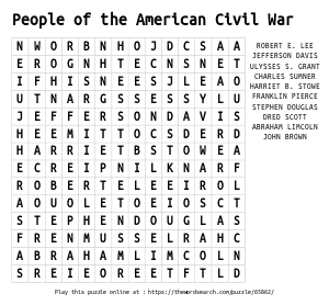 Word Search on People of the American Civil War