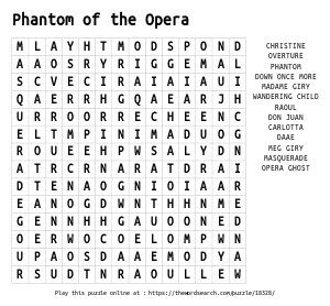 Word Search on Phantom of the Opera
