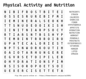 Word Search on Physical Activity and Nutrition