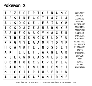 Word Search on Pokemon 2