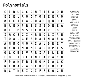 Word Search on Polynomials