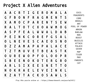 Word Search on Project X Alien Adventures