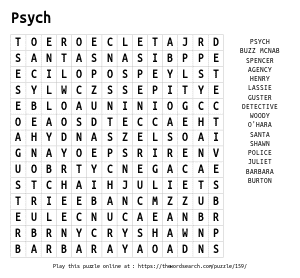 Word Search on Psych
