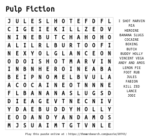 Word Search on Pulp Fiction