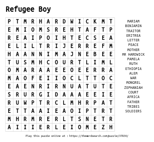 Word Search on Refugee Boy