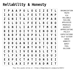 Word Search on Reliability & Honesty
