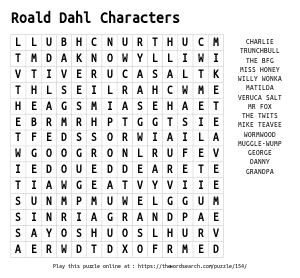 Word Search on Roald Dahl Characters