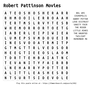 Word Search on Robert Pattinson Movies