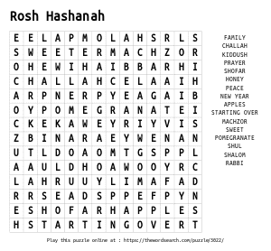 Word Search on Rosh Hashanah