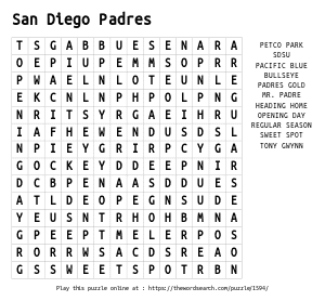 Word Search on San Diego Padres