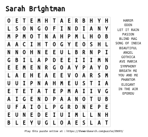 Word Search on Sarah Brightman