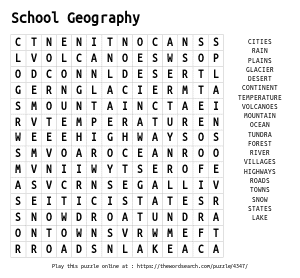 Word Search on School Geography