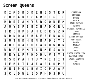 Word Search on Scream Queens