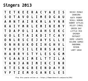 Word Search on Singers 2013