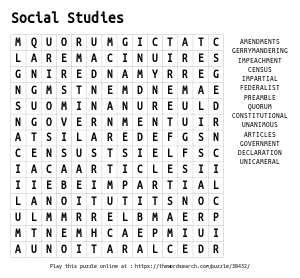 Word Search on Social Studies