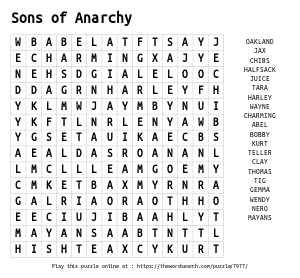 Word Search on Sons of Anarchy