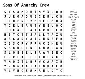 Word Search on Sons Of Anarchy Crew