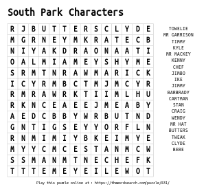 Word Search on South Park Characters
