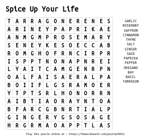 Word Search on Spice Up Your Life