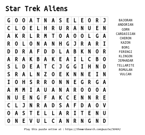Word Search on Star Trek Aliens