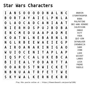 Word Search on Star Wars Characters