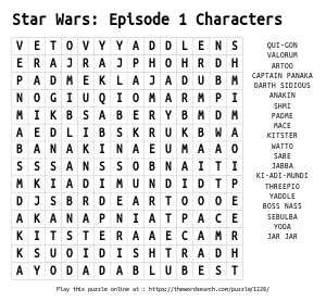 Word Search on Star Wars: Episode 1 Characters