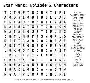 Word Search on Star Wars: Episode 2 Characters