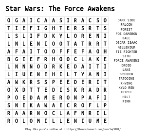 Word Search on Star Wars: The Force Awakens
