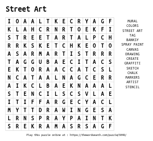 Word Search on Street Art